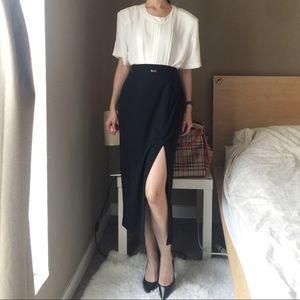 Amanda Smith Petites High Waisted Black Midi Skirt